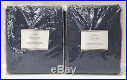 NEW Pottery Barn Emery Linen/Cotton 50x96 BLACKOUT Drapes, SET OF 2, INK BLUE
