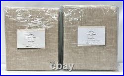 NEW Pottery Barn Emery Pole Top 50x84 COTTON LINED Drapes CurtainsSET/2Oatmeal