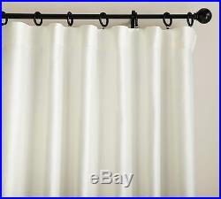NEW Pottery Barn Ivory DUPIONI SILK Double-Wide BO-LINED Drape Curtain 104 x 96