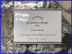NEW Pottery Barn Jacquelyn Medallion 50 x 84 Cotton Lined DrapesSET OF 2GRAY