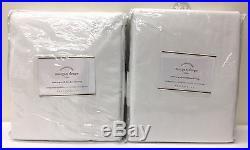 NEW Pottery Barn Morgan 50 x 84 BLACKOUT Drapes, SET OF 2, WHITE withTWILIGHT BLUE
