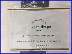 NEW Pottery Barn Morgan 50x96 BLACKOUT Drapes, SET OF 2, WHITE withFLAGSTONE GRAY