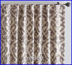 NEW Pottery Barn SUKI IKAT DRAPES Panels Curtains Gray 96 Long set of 2 NWT