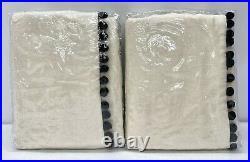 NEW Pottery Barn TEEN Emily & Meritt 63 Natural Linen Pom Pom BLACKOUT Curtains
