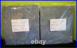 NEW Set of 2 Pottery Barn BELGIAN FLAX LINEN CURTAINS 3-in-1 Pole Blue Chambray
