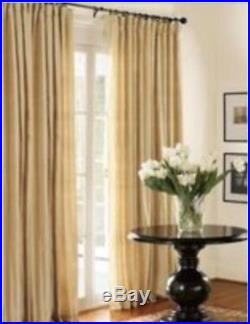 NEW Set of Two POTTERY BARN SILK DUPIONI POLE TOP Drapes 50 X 84 in PARCHMENT