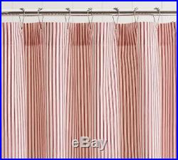 NWT Pottery Barn RED TICKING STRIPE RUFFLE Shower CURTAIN CHRISTMAS SOLD OUT