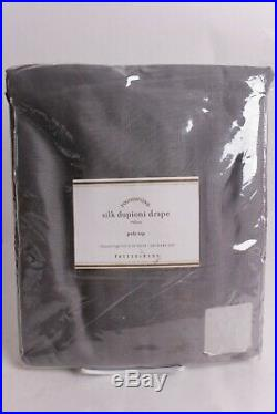 NWT Pottery Barn Silk Dupioni drape curtain panel 50x96 flagstone gray