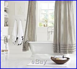 NWT Pottery Barn Ticking Striped Ruffle Shower Curtain RARE Cotton 72 Black