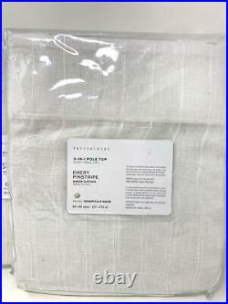 New2Pottery Barn Emery Linen/Cotton Pinstripe Sheer Curtains Drapes 84 White