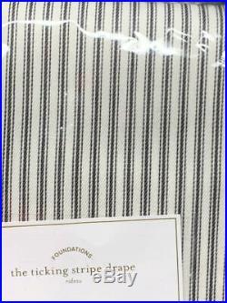 New2Pottery Barn Emily Meritt Ticking Stripe Curtains Drapes Hooks Tassels 96
