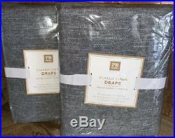 New2 Pottery BarnClassic Linen Blackout Curtains Drapes 44x84Dark Grey