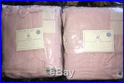 New2 Pottery BarnEvelyn Linen Ruffle Bottom Blackout Panel Drapes 96 Pink