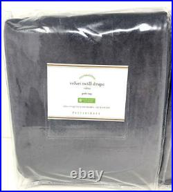 New2 Pottery BarnVelvet Twill Rod Pocket Curtains DrapesWashed Black50x108