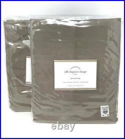 New2 Pottery Barn Silk Grommet Drapes Panels Curtains Brownstone50x84