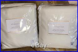 New2 Pottery Barn Silk Pole Pocket DrapesDouble Wide 104x96IvoryBLACKOUT