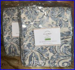 NewPottery BarnSet of 4Sierra Damask Blue Print Drapes Curtains50x84