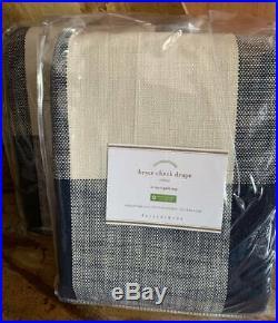 NewPottery Barn Bryce Buffalo Check Curtains DrapesSet of 450x96Navy