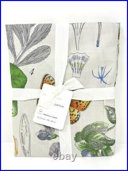 NewPottery Barn Poppy Botanical Print Organic Shower Curtain72 Square