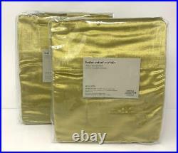 NewSet of 4 West Elm Cotton Luster Velvet Curtains DrapesWasabi48x108