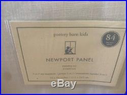 New 2 Pottery Barn 84 White Navy Border Newport Classic Blackout Drapes Panels