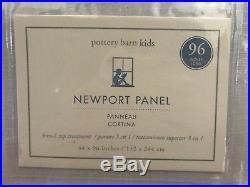 New 4 Pottery Barn 96 White Gray Border Newport Classic Blackout Drapes Panels