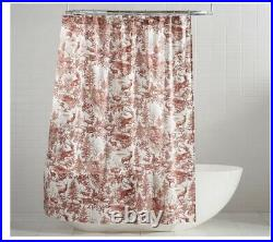 New POTTERY BARN Alpine TOILE Reindeer Holiday SHOWER CURTAIN! Gorgeous
