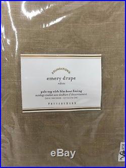 New Pottery Barn 2 Emery Linen/Cotton Blackout Drapes 50 x 108Walnut