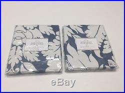 New Pottery Barn Belgian Flax Linen Damask Sheer Drapes 50 x 84 Set of 2 Blue