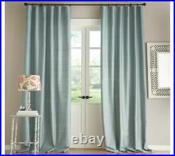 New Pottery Barn Dupioni Silk Double Curtain Drape 104 x 96 Porcelain Blue SET 2