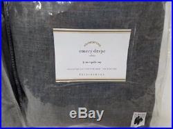 New Pottery Barn Emery 100x96 Drapes Charcoal set of 2