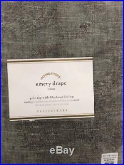 New Pottery Barn Emery Linen/Cotton Blackout Drapes 50 x 84GraySet of 2