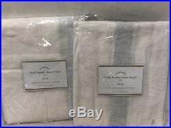 New Pottery Barn Linen Border Sheer Drapes 50 x 96White/BlueSet of 2