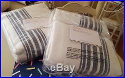 New Pottery Barn Riviera Stripe Blackout Drapes 50' x84' NAVY Blue Set/2