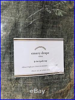 New Pottery Barn Sage Grass Emery Linen Cotton Drape 96 Curtain Set of 2 NIP
