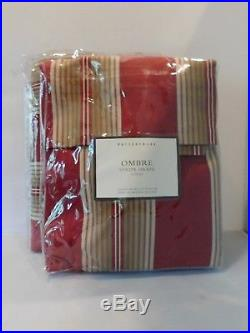 New Pottery Barn Set 2 OMBRE Stripe Red & Tan Ridea Drapes 96 Curtain Pair Pole