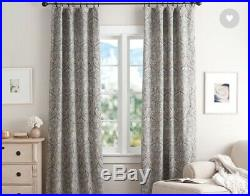 New Pottery Barn Set of 2 Mackenna Blue Paisley Linen Drapes Curtains 50x84