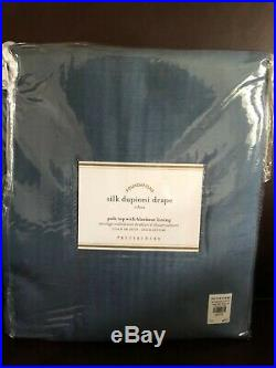 New Pottery Barn Silk Dupioni Double Wide Blackout Drape 104x84Lagoon Blue