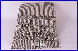New Pottery Barn Ticking Stripe Ruffle shower curtain black almond