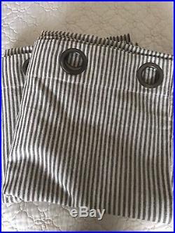 New Pottery Barn Wheaton Stripe Drapes 50 x 108GraySet of 2