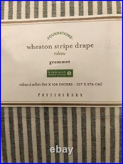 New! Pottery Barn Wheaton Stripe Gray 50x108 CURTAINS PANELS Grommet Set of 2