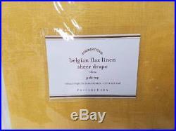 New Pottery Barn set of 2 BELGIAN FLAX LINEN POLETOP SHEER DRAPES 50 X 84 YELLOW