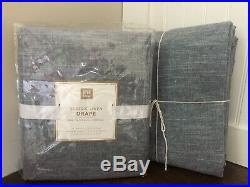 New Set Of Pottery Barn Teen Cotton Linen Blackout Curtains Navy / White
