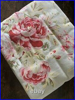 Nos Pottery Barn Hayden Pink Sage Rose Floral Linen Cotton Decor Fabric 54 5 Yd