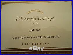 One Pottery Barn Wheat Gold Silk Dupioni Drape Doublewide 104x84 Svrl Avail