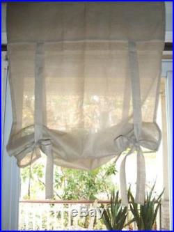 One Pottery Barn Linen Ribbon Tie Curtain Drape Panel Shade Taupe 36x63