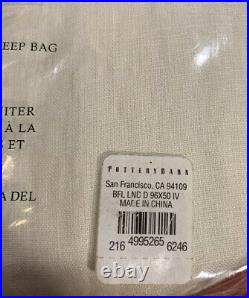 PB Classic Belgian Flax Linen Rod Pocket Curtain, Cotton Lining, 50 x 96, Ivory