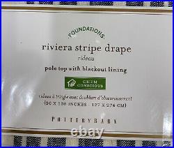 PB Riviera Striped Linen/Cotton Rod Pocket Blackout Curtain, 50x108, Navy