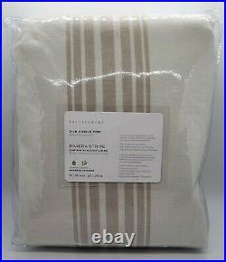 PB Riviera Striped Linen/Cotton Rod Pocket Blackout Curtain, 50x96, Sandalwood