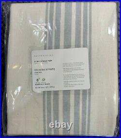 PB Riviera Striped Linen/Cotton Rod Pocket Curtain, 50 x 84, Porcelain Blue